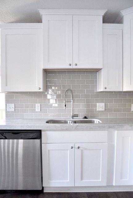 Smoke Glass Subway Tile | White shaker cabinets, Shaker cabinets and Subway  tiles