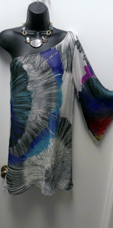 Multi Colored One Shoulder Dress $34