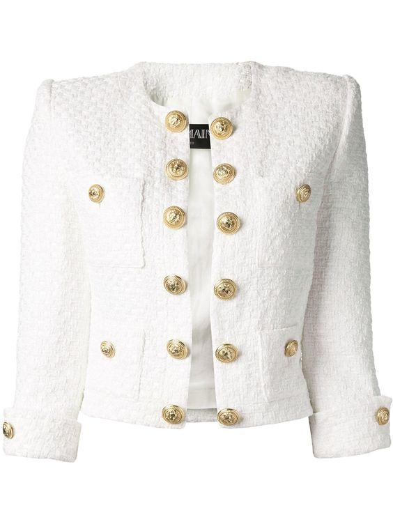BALMAIN cropped jacquard blazer on Wanelo