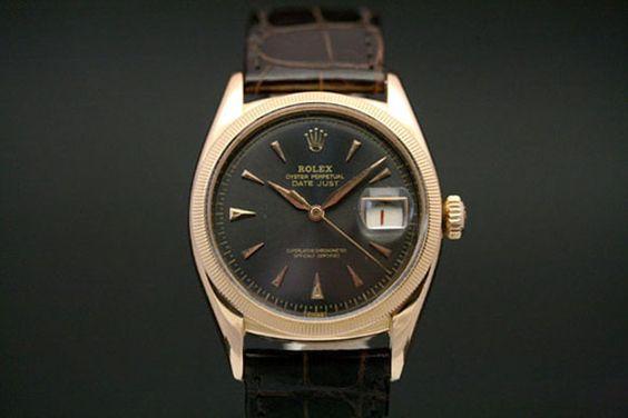Rolex Datejust in 18k Rotgold *extrem selten* (ca. 50er Jahre)  Braunes Krokolederarmband mit Rotgold Dornschließe, Dunkles Zifferblatt  Referenz: 6305 | /-Serie  http://www.juwelier-leopold.de/uhren/rolex/vintage.html