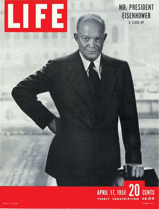 March 28, 1969: President Eisenhower dies in Washington D.C., at the age of 78.    Pictured above, Eisenhower graces the cover of the April 17, 1950 issue of LIFE Magazine