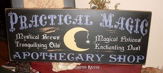 The Practical Magic Apothecary Shoppe Primitive Handpainted Wood Sign Halloween Plaque. $36.00, via Etsy.