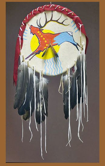 master of ledger art,  the late George Flett (Spokane) This elk shield was originally found on the Tinman gallery site, who was the greatest producer and supporter of George's art. (http://www.tinmanartworks.com) ..Im not really sure what the story is with this piece as all the feathers are immature bald eagle and could never be legally sold or held by a non-native unless it is in a museum collection.