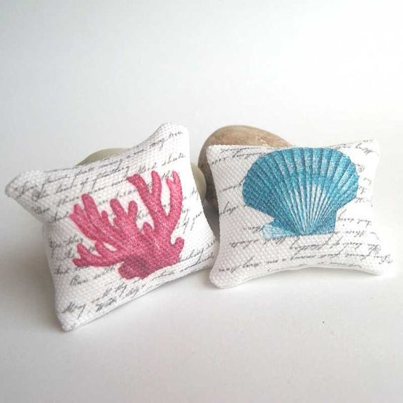 Shabby chic cushions nautical in 1/12 scale by MairiTales on Etsy, $8.50