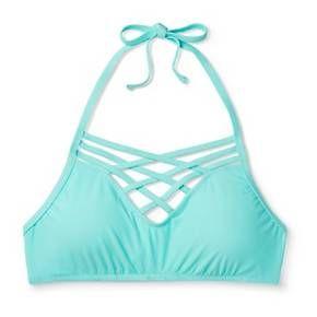 Women's High Neck Halter Bralette Bikini Top - M... : Target