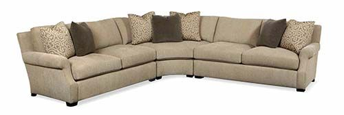 Bernhardt | Atlas Sectional Sofa (B58) Three pieces shown with wedge corner,  122.5