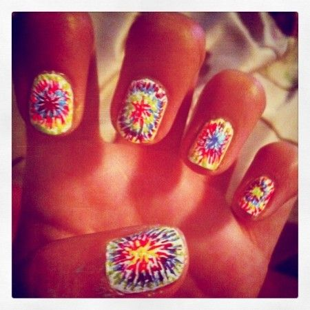Rainbow firework nails on white for summer.  Would also work on a black background. WHOA
