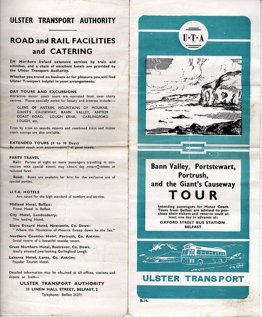 Old tour leaflet for Counties Antrim & Derry.Ulster Transport Authority. by cabsaab900, via Flickr.