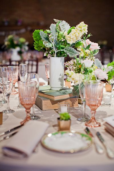 blush pink + mint green. Love the Depression Glass goblets! (photo by Rebecca Arthurs)