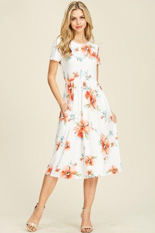 Lanai Floral Dress Coral In 2020 Occasion Dresses Uk Elegant Dresses Dresses
