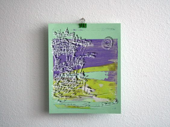Cliffhanger monoprint in purple and yellow by Kathryn DiLego