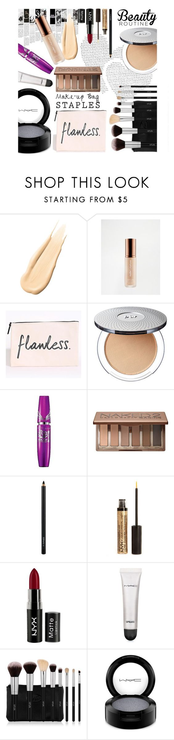 """""""My makeup bag"""" by missdee-93 ❤ liked on Polyvore featuring Hourglass Cosmetics, Nude by Nature, Maybelline, Urban Decay, MAC Cosmetics and NYX"""