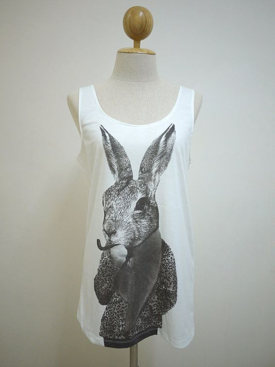 The Detective Rabbit : Rabbit Bunny Smart Cigar Pipe Animal Style Tank  Women T-Shirt White T-Shirt Tunic Screen Print on Etsy, £11.90