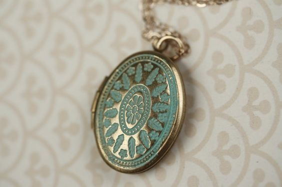 Long gold and teal locket