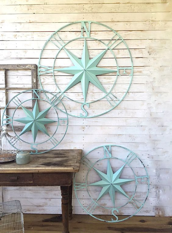 Nautical wall decor metal compass wall art by for Anchor decoration runescape