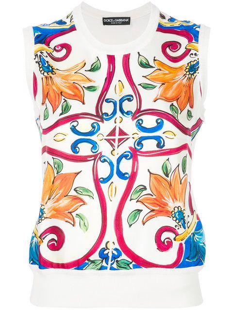 Dolce Gabbana Sicilian Print Top Farfetch Dolce And Gabbana Print Tops Knitwear Women