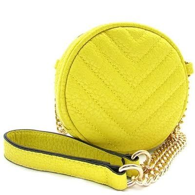 """Soft Faux Leather Zipper Top Closure 55"""" chain strap, 1 compartment only Approximate dimensions: L5.5"""", H5.5"""" and W2.8""""    Color: YELLOW            http://www.justtrendydesigns.net 