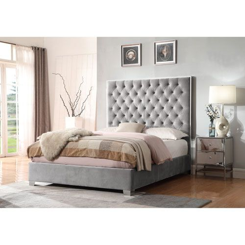 Emerald Home Lacey Gray Upholstered Queen Bed King Upholstered Bed Upholstered Panel Bed Remodel Bedroom
