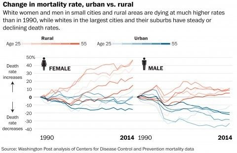 Data suggest risky behaviors are working to defy modern trends of mortality, most starkly among middle-aged white women.
