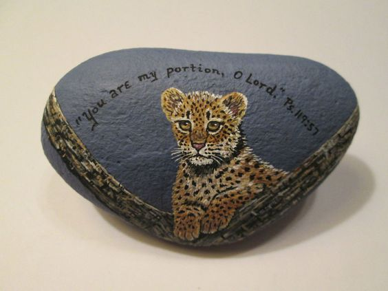 Leopard and Bible Verse hand painted on a rock by Ann Kelly #Realism