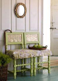 Two Chairs = A Bench:  Choose any two chairs with square seats. Perk them up with paint, bolt them together, and layer on one long toile-covered cushion.  http://www.countryhome.com/projects/decorating/makeover-magic_5.html  #two #chairs #bench #repurpose #diy