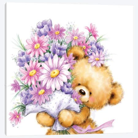 Bear Hung on Flowers Canvas Art Print by MAKIKO | iCanvas