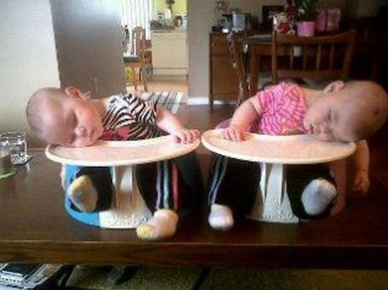 25 Kids Sleeping in the Strangest Places - Napping twins.