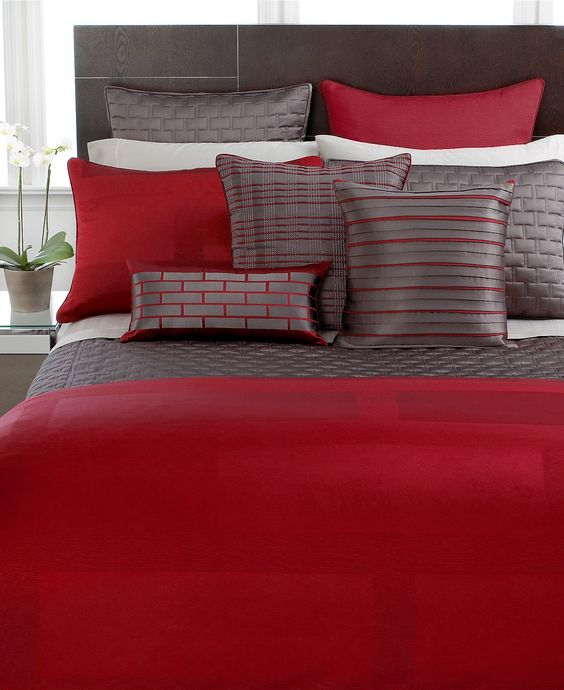 Love red in a bedroom - Master bedroom bedding: