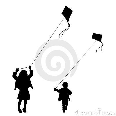 Kids playing with kites silhouette by Ashestosky, via Dreamstime