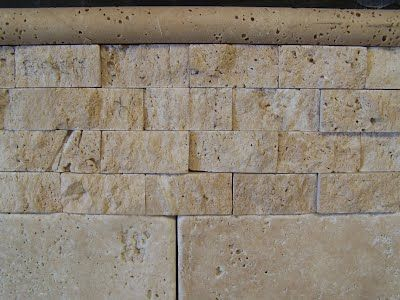 Noce travertine pencil rail at top split face cream for Split face travertine kitchen backsplash