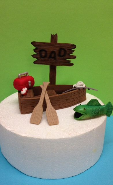 Fondant fishing boat cake topper fondant fishing cupcake for Fishing cake toppers