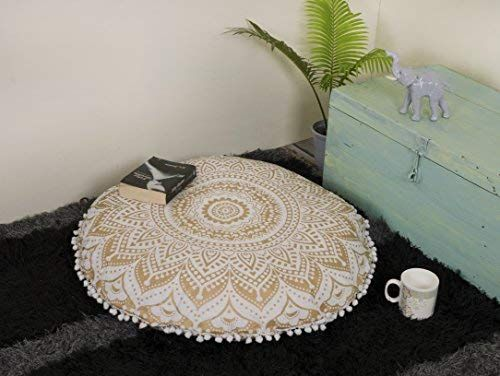 Amazon Com Popular Handicrafts Mandala Round Hippie Floor Pillow Cover Gold 32 Cushion Cover Home Kitc Boho Pillows Floor Pillows Floral Cushion Covers