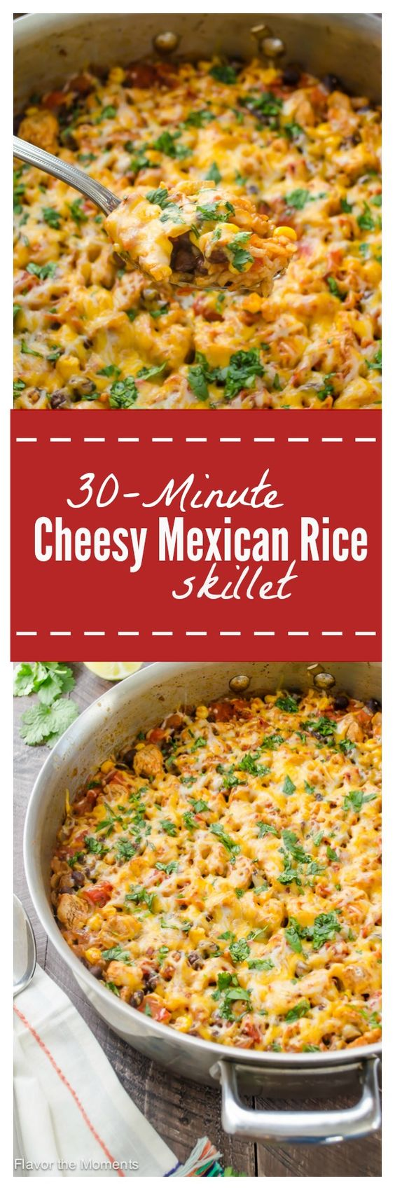 30-Minute Cheesy Mexican Rice Skillet is an easy one pot meal packed with chicken, rice, and plenty of Mexican spice! It's all topped with cheese for one delicious weeknight meal! @FlavortheMoment