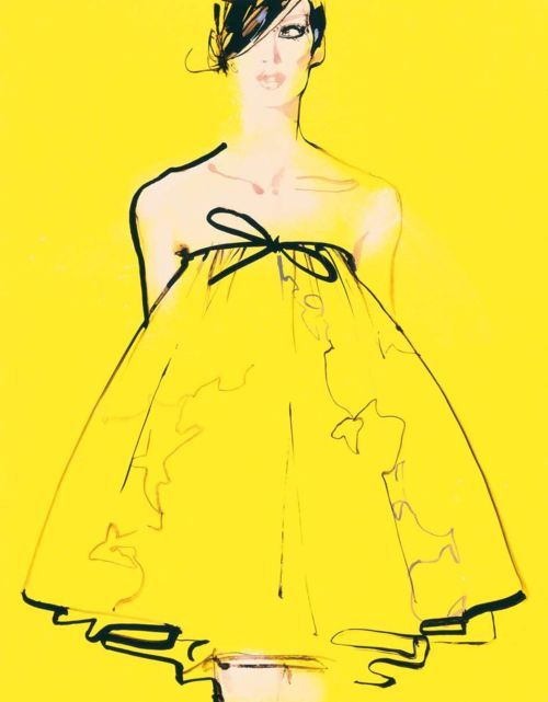 David Downton - I like how he's just used a black outline onto the bold yellow background to make the garment stand out which creates an eye drawing effect.