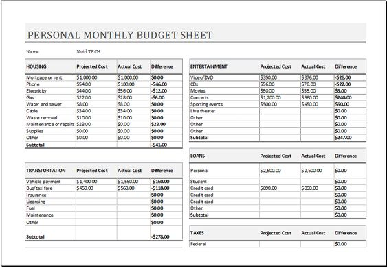 Personal Monthly Budget Sheet Download At HttpWwwXltemplates