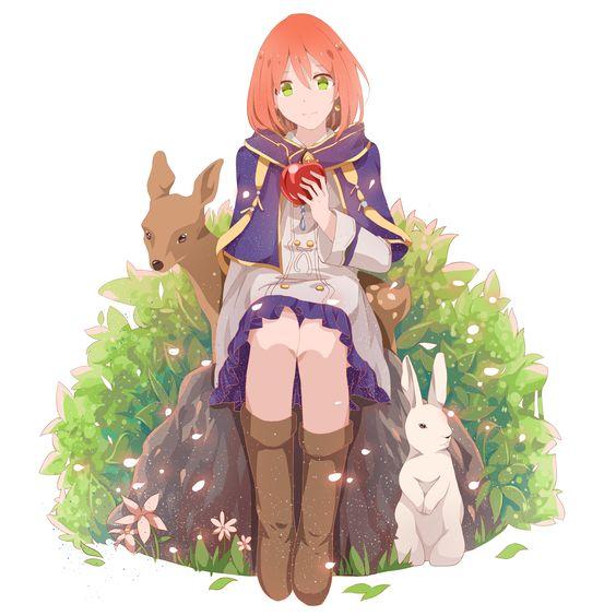 かわいいイラスト赤髪の白雪姫