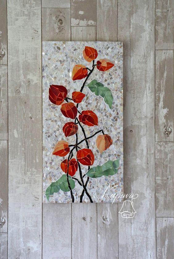 Mosaic Wall Decor made to order. physalis. mosaic. wall decor. wall mosaic decor