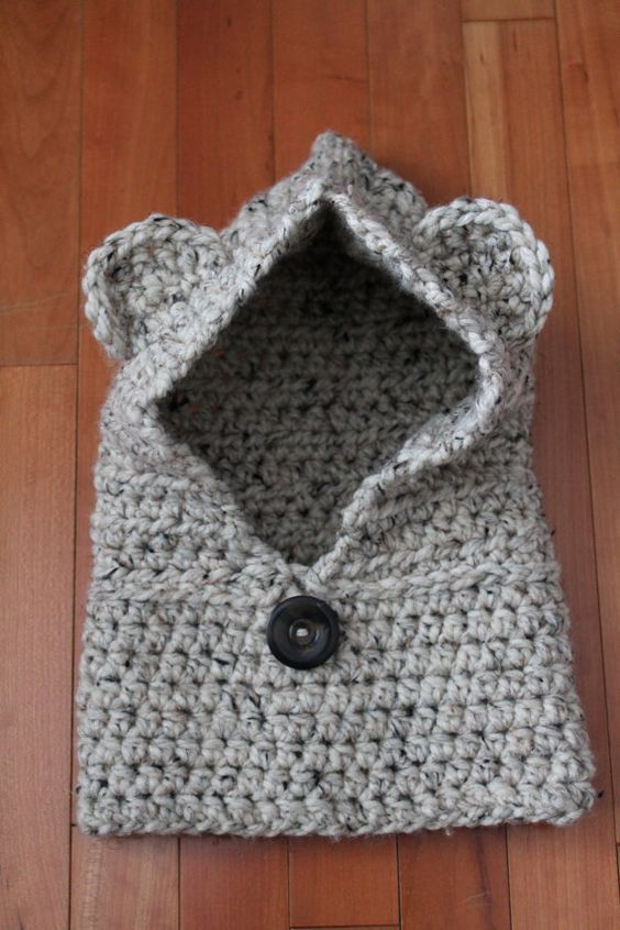 Crochet Baby Bear Cowl Pattern : Harper Crochet Bear Hooded Cowl Toddler & by ...
