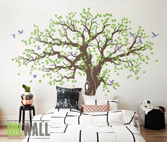 Grand arbre g n alogique muraux stickers muraux chambre d for Autocollant decoration murale