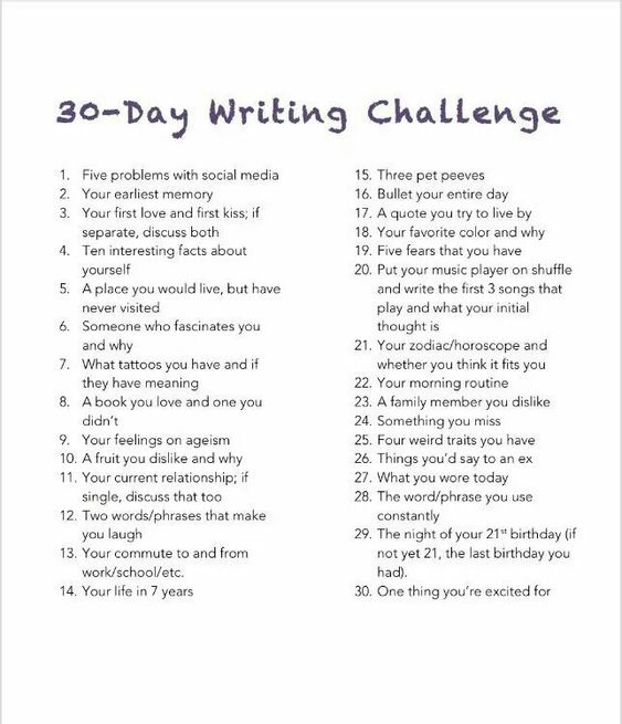 30 day writing challenge, the best way to become a writer is just to write