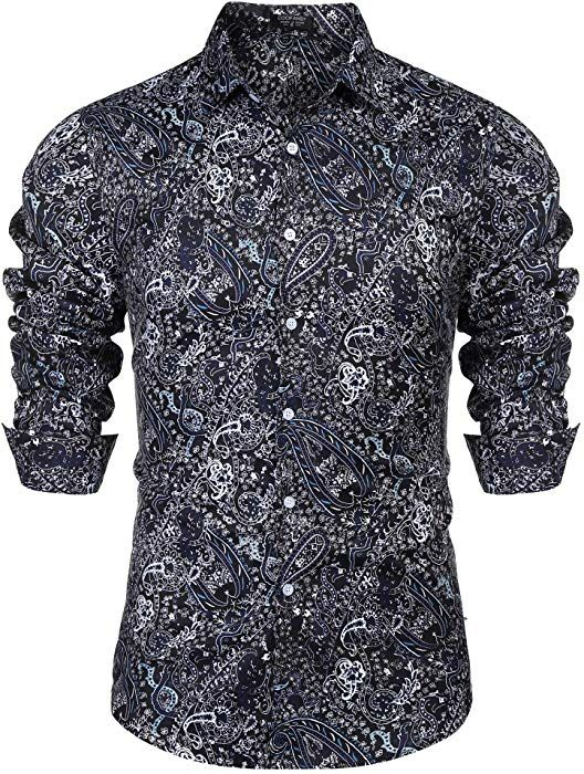 COOFANDY Mens Hawaiian Shirt Stylish Floral Print Slim Fit Long Sleeve Casual Button Down Shirt
