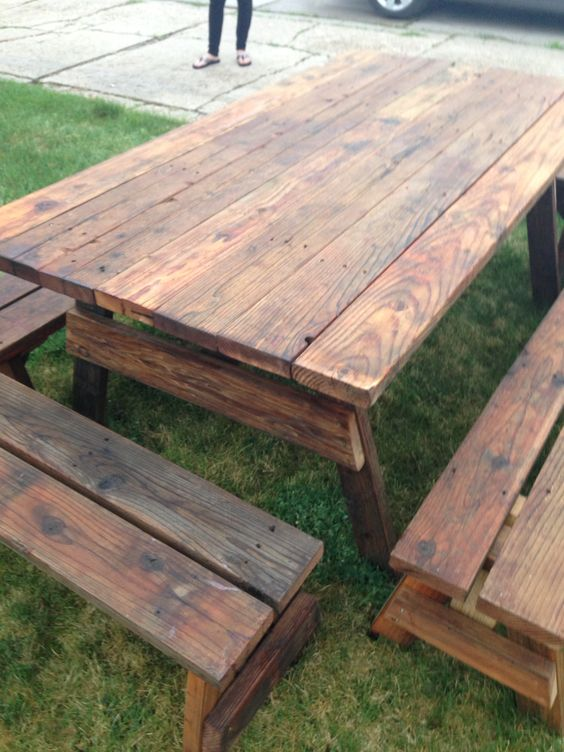outdoor picnic tables reclaimed barn wood and picnic
