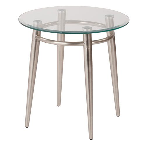MG Tables Nickel Brush  Glass Round Top End Table