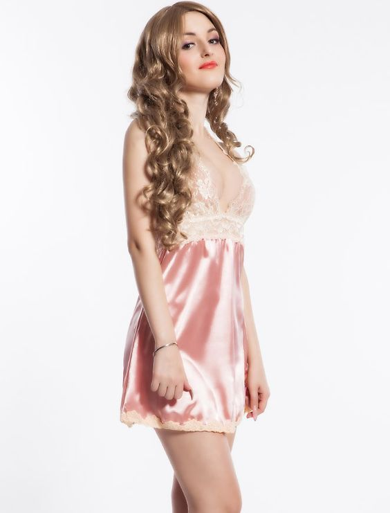 Sexy Pink Satin & Lace Valentines Babydoll