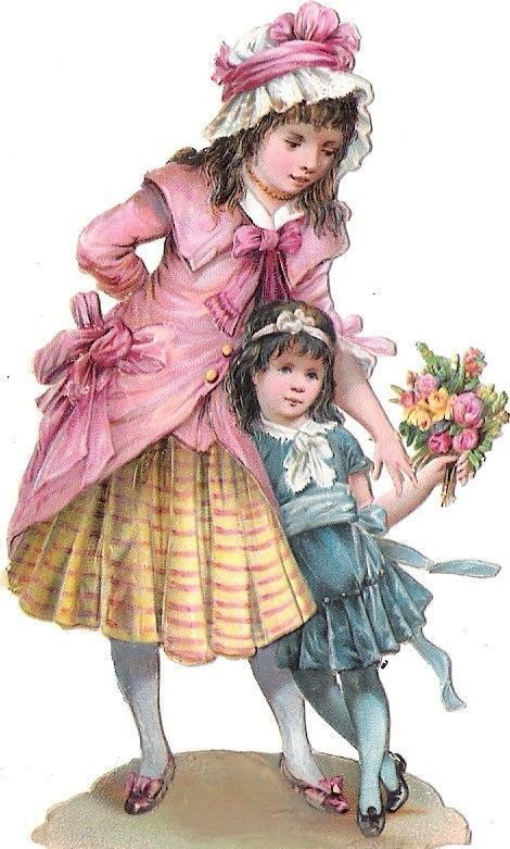 Oblaten Glanzbild scrap die cut chromo Kind child girl sister Schwester Mädchen: