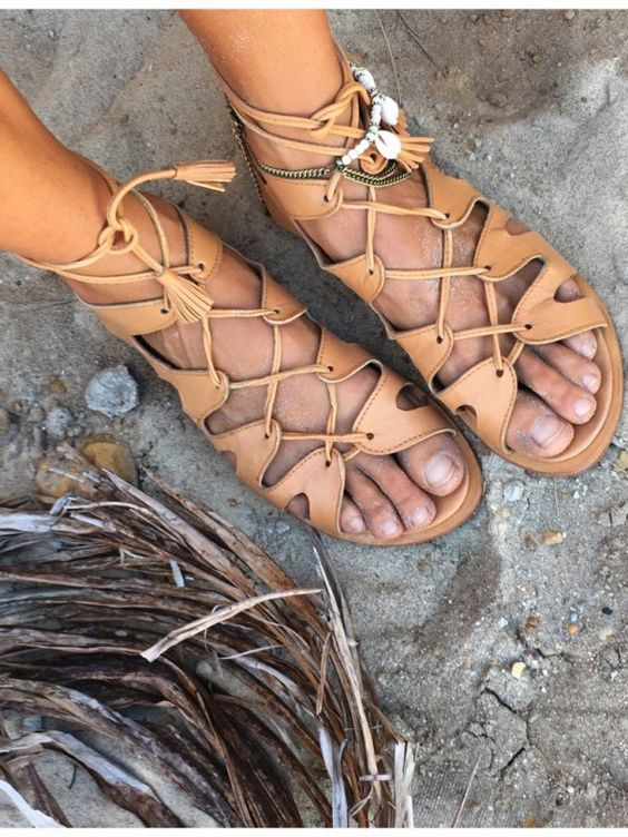 Kivari Bohemian leather roman sandals... We sure are feeling those summer gypsy vibes.: