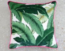 Green Palm Outdoor Square Cushion Pillow Cover - With BRIGHT PINK Piping trim