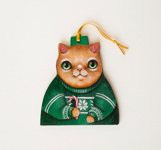 Christmas sweater decoration - cat in christmas sweater