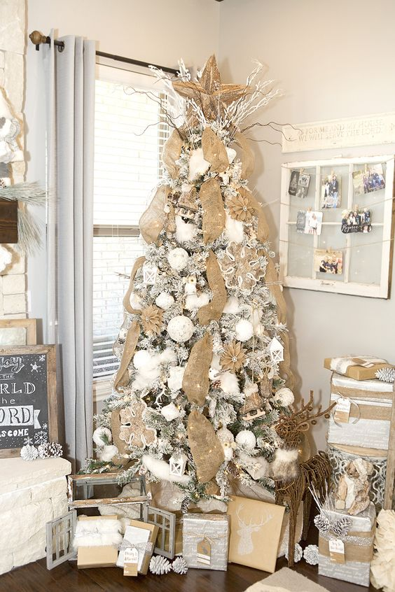 Stunning farmhouse christmas decor with a neutral tree