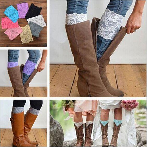 C$ 1.06 Pas cher Free Shipping Stretch Lace Boot Cuffs Women GIRLS LEG WARMERS Trim Flower Design Boot Socks Knee, Acheter  Jambières de qualité directement des fournisseurs de Chine: